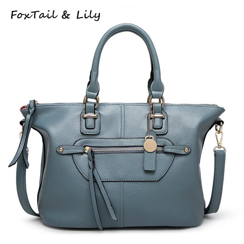 FoxTail & Lily Fashion Smile Bags Handbags Women Famous Brands Genuine Leather Female Shoulder Messenger Bags Luxury Quality foxtail