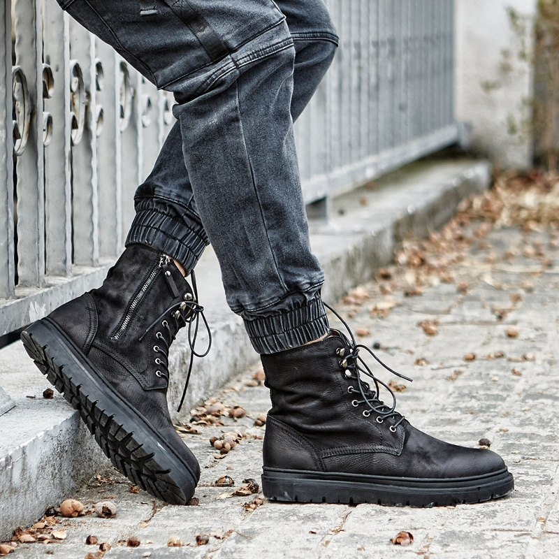 Hiver Véritable À La Hombre bleu Noir Noir Cuir Chaussures up Bottes D'hiver Chaude Vente Mycoron Dentelle Main Botas De En Hommes 4R5jcALq3