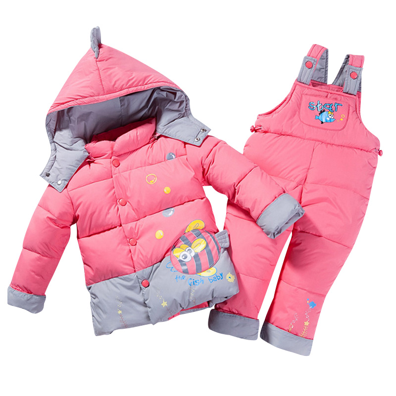 ФОТО 2017 Winter Thick Warm Infant Baby Down Coat Pants Two Sets Hooded Jackets for Boys Girls Detachable Cap Children Clothing Suits