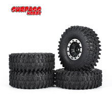SURPASS HOBBY 4pcs 5020 110mm 1.9in Rim Rubber Tyre Tires Beadlock Wheel Set for Axial SCX10 RC4WD D90 1/10 RC Crawler Car Model 4pcs 1 10 rc rock crawler 2 2 rubber tyre wheel tires for axial scx10 tamiya cc01 rc4wd d90 rc climbing car parts