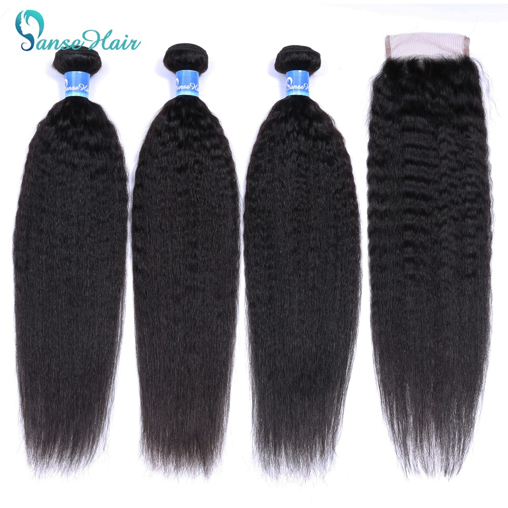 Panse Hair Kinky Straight Hair 3 Bundles Deals with closure Mongolian Hair Weave Coarse Yaki Human Hair Non Remy Hair Extension-in 3/4 Bundles with Closure from Hair Extensions & Wigs    1