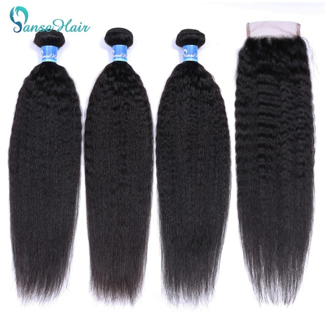 Panse Hair Kinky Straight Hair 3 Bundles Deals with closure Mongolian Hair Weave Coarse Yaki Human Hair Non Remy Hair Extension