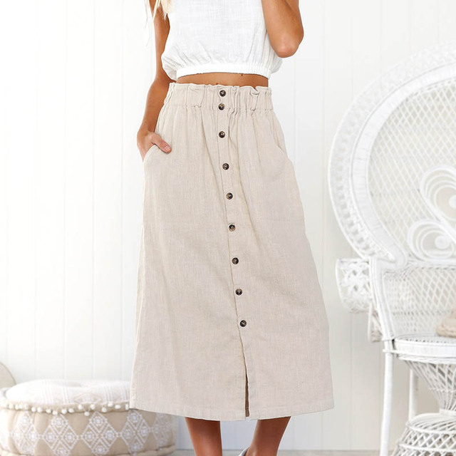 863621efa80 US $8.15 49% OFF|2018 Fashion Summer Cute Solid Beige Button Mid Calf Women  Skirt StreetWear Women Long Skirts Clothes Half Casual Girls-in Skirts ...