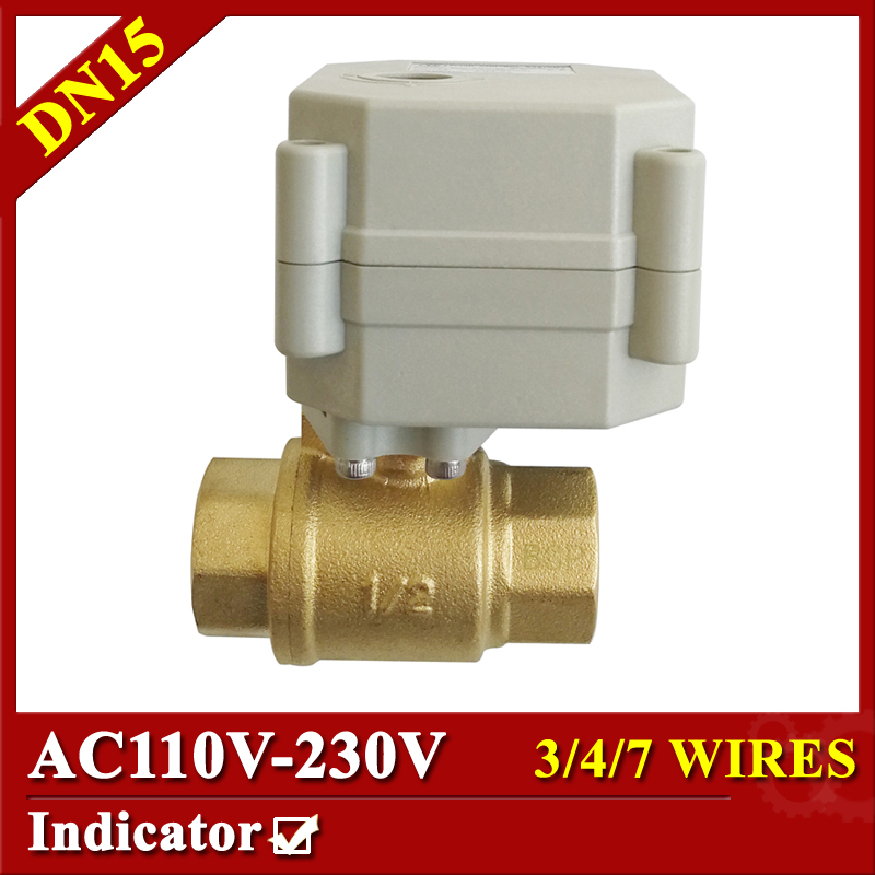 BSP/NPT 1/2 electric ball valve AC110-230V 3/4/7 wires Brass DN15 actuated ball valve for water shut off control brass electric solenoid valve 2w 200 20 3 4 inch npt for air water valve 110v nc