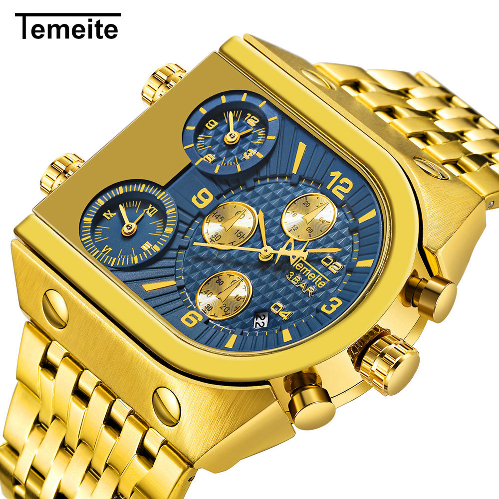Temeite Watch Men Top Brand Luxury Wristwatches Military Watch Male Multi-function Calendar Stainless Steel Quartz Watches Mens