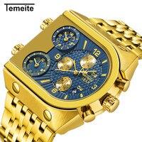 Temeite relógio masculino marca de luxo relógios de pulso masculino multi-função calendário de aço inoxidável relógios de quartzo dos homens