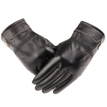 High Quality Fashion Men's Autumn Winter Warm Leather Gloves Lambskin Mittens Driving Black luvas de inverno spor eldiveni