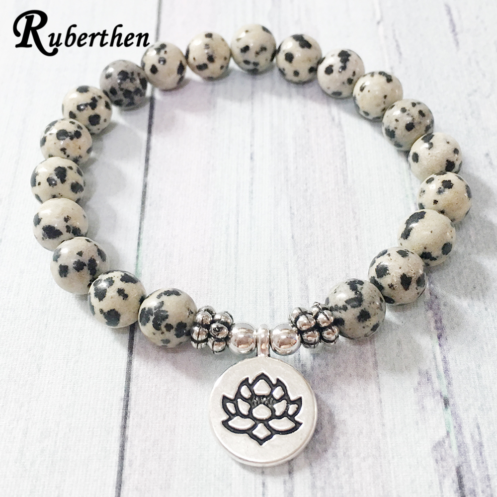 Ruberthen New Arrival Design Dalmatian Natural Stone Bracelet Men`s Wrist Mala Beads Jewelry Solar Plexus Bracelet(China)