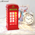 Retro London Telephone Booth Noite Luz USB Battery Dual-Usb LED lâmpada de Mesa Lâmpada de Cabeceira luminarias