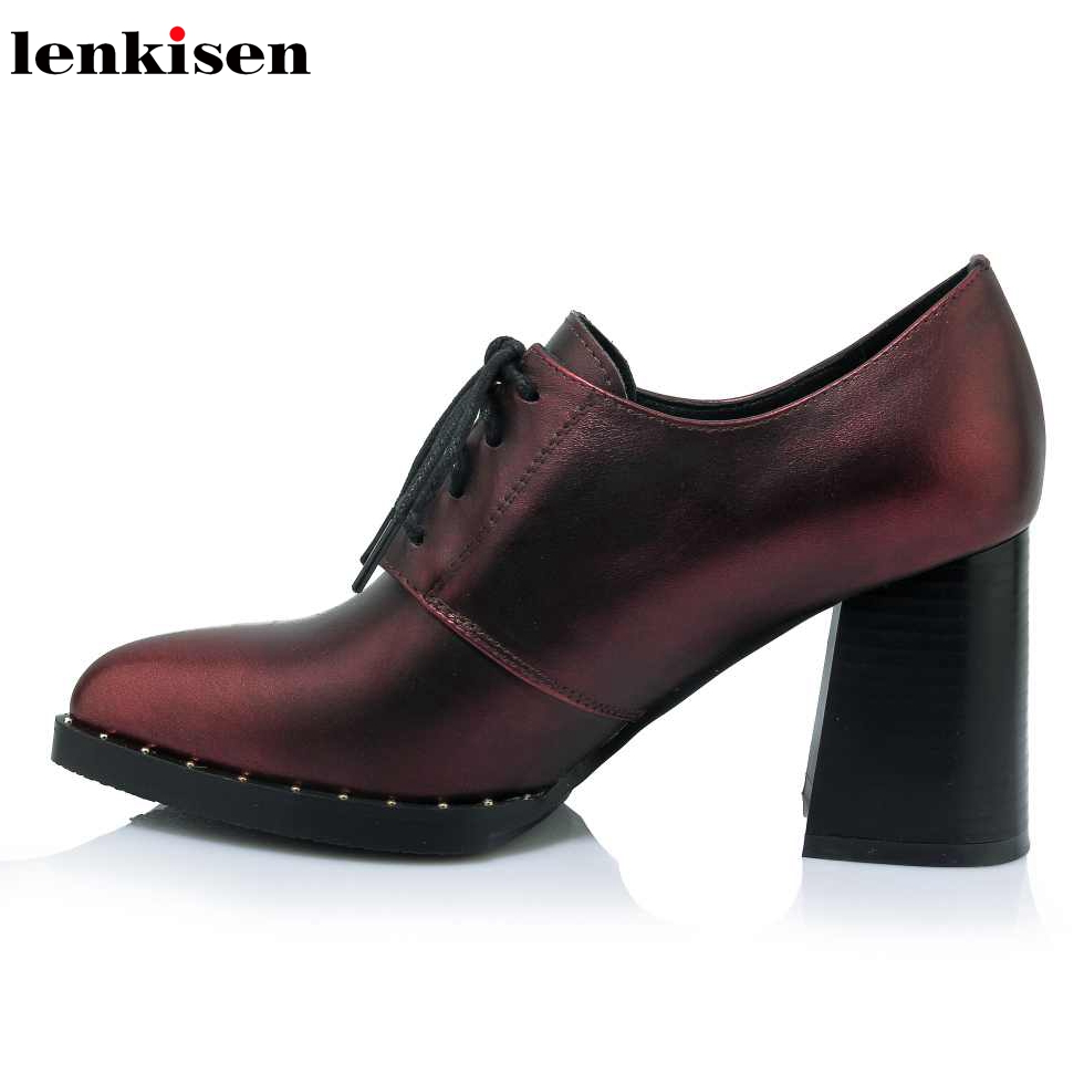 Lenkisen fashion spring and summer genuine leather shallow pointed toe office lady super high heel British style women pumps L20Lenkisen fashion spring and summer genuine leather shallow pointed toe office lady super high heel British style women pumps L20