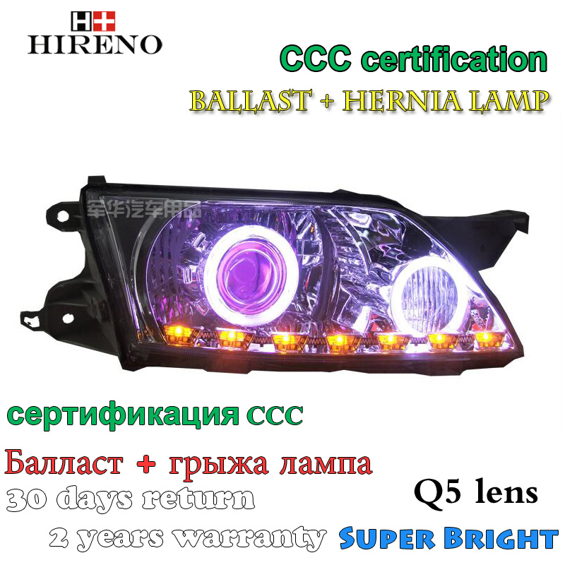 Hireno Modified Headlamp for Mazda Premacy 2003-2008 Headlight Assembly Car styling Angel Lens Beam HID Xenon 2 pcs auto car usb sd aux adapter audio interface mp3 converter for mazda premacy 2002 2008 fits select oem radios