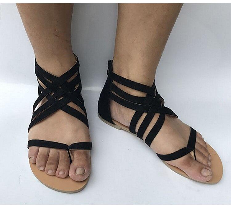 HTB10dXKdS8YBeNkSnb4q6yevFXa4 Women Sandals Fashion Gladiator Sandals For Women Summer Shoes Female Flat Sandals Rome Style Cross Tied Sandals Shoes Women 43