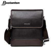 Bostanten First Layer Cow Genuine Leather Men Messenger Bag Business Brand Design Real Leather Crossbody Handbag