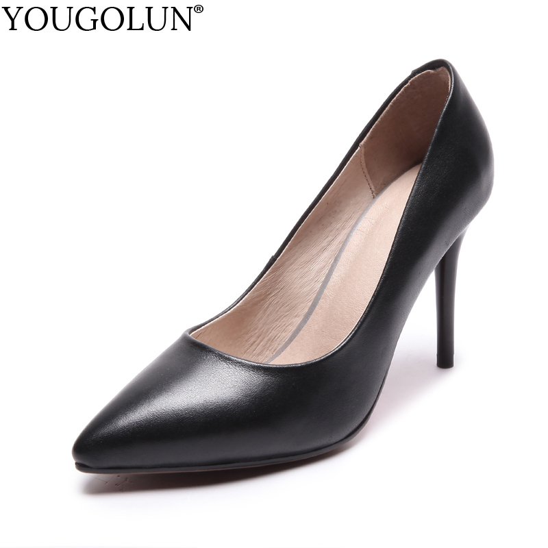 YOUGOLUN Women Pumps Genuine Leather Office Lady High Thin Heels Elegant Woman Red Sole Bottom Pointed toe Party Shoes #A-094 creativesugar elegant pointed toe woman