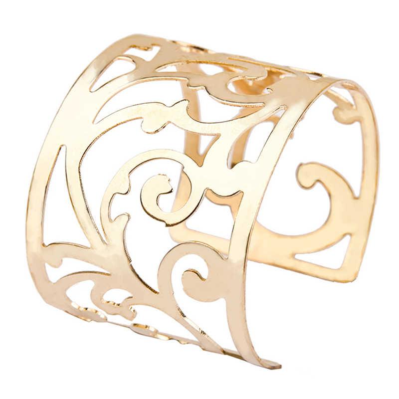 חם יוקרה אופנה נשים של פאנק סגנון גדול רחב זהב צבע הולו פרח קאף צמיד צמיד נשים צמידי Boho