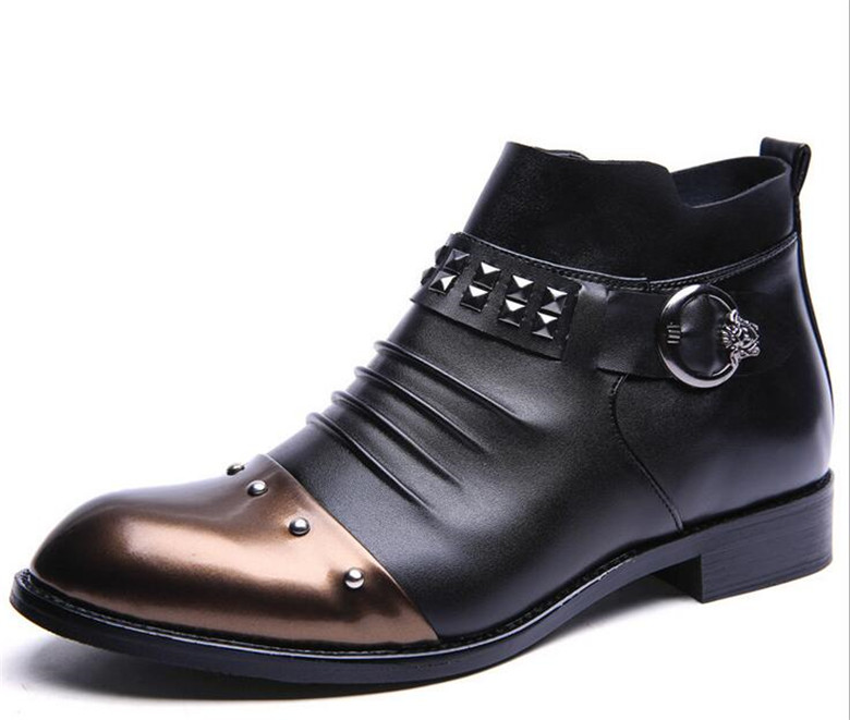 ФОТО Autumn Winter handmade Brand Motorcycle Boots British Vintage men martin boots flat heel genuine cow leather Shoes ankle boots