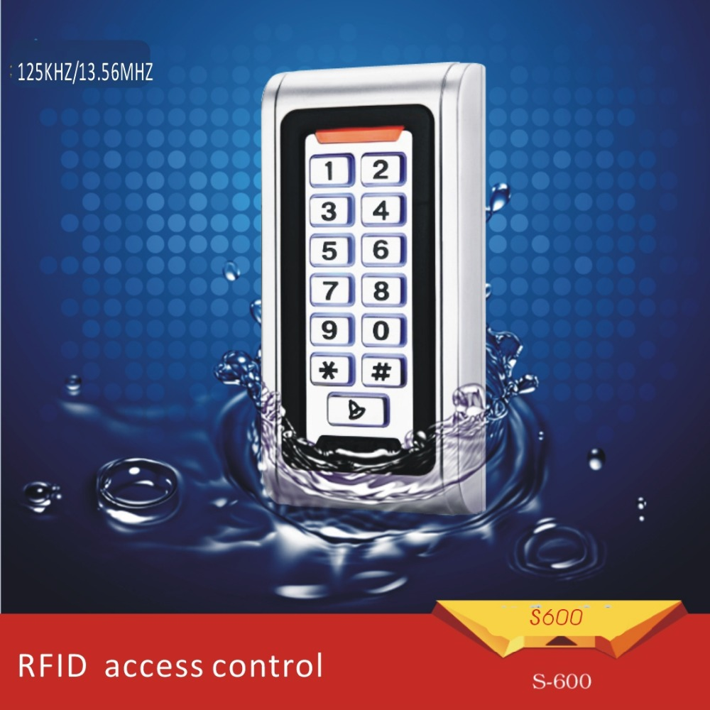 Free shipping metal shell &Waterproof access control  machine125KHZ  RFID+password keyboard for Wg26 reader  +10pcs crystal tags free shipping waterproof metal shell 125khz rfid access control card reader with wg26 port 5pcs crystal keyfobs