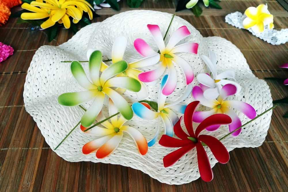 Free Shipping F114 COLORFUL 288pcs/ lot 8 CM 8 COLORS Foam tiare hair pick  women wear hair accessories Hawaii tropical flower