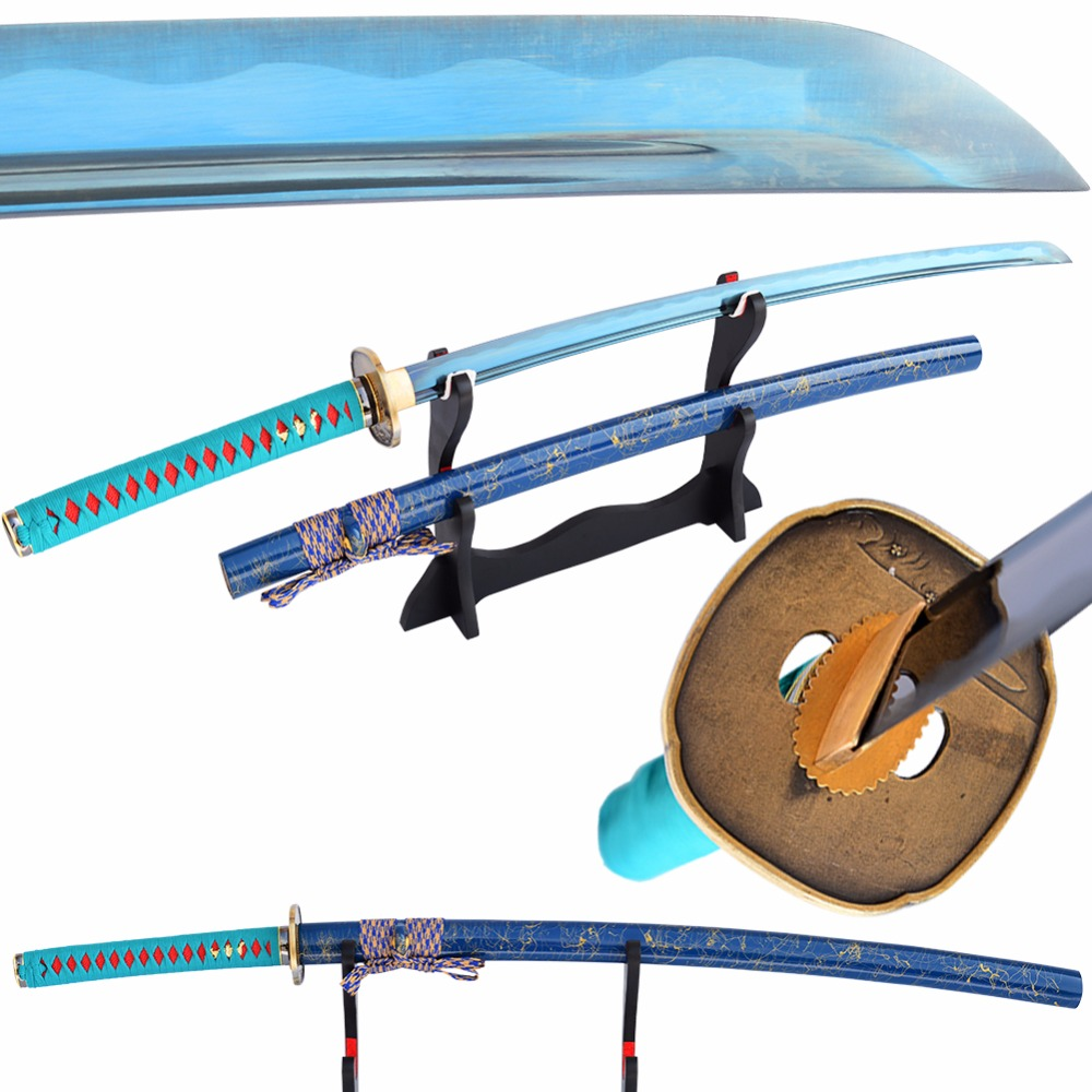 SHI JIAN Modrý samurajský meč Japonský katana 1060 z uhlíkové oceli ostrá čepel Ahoj plný Tang Iaido trénink Espadas Katana meč