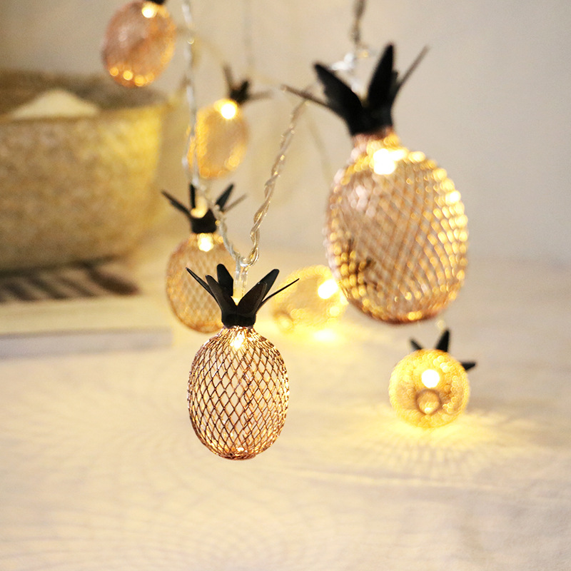 1.5M LED String Lights Vintage Pineapple Metal Twinkle Lamp Christmas Wedding Decoration Battery Operated Fairy Lights