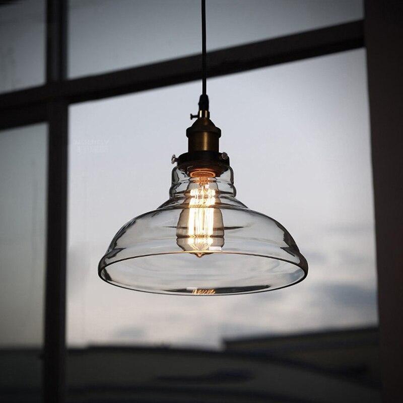 Vintage <font><b>Pendant</b></font> Lights Loft Suspension Luminaire Home Lighting Industrial Lamp Hanging Light Fixtures Glass Lampshade Lamparas