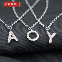 Wholesale 925 Sterling Silver Necklace Letter Korean Women Fashion Sweater Chain Short Silver Pendant Pendant Supply