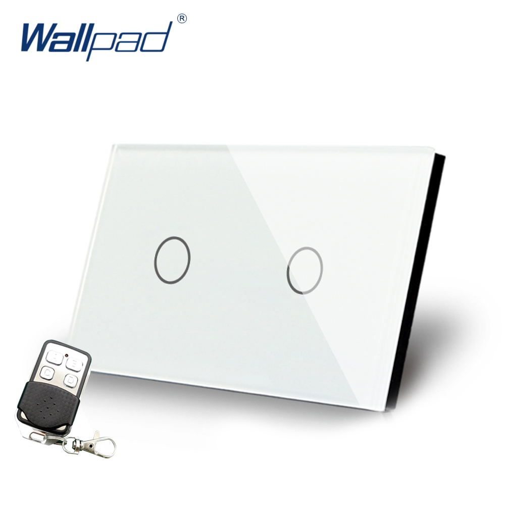 White 2 Gang 2 Way Remote Control Crystal Glass Switch Wallpad Luxury US/AU 3 Way On/ Off Switch Panel With Remote Controller white 3 gang remote control light switch crystal glass screen switch wallpad luxury us au led touch switch with remote control