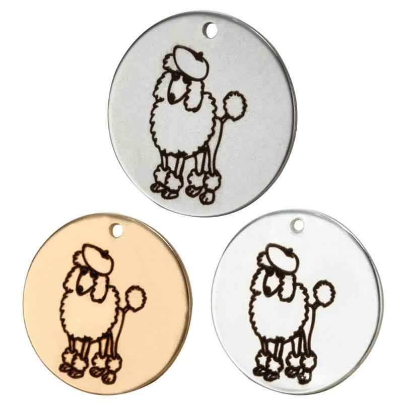 6Pcs/lot 20mm Lovely Poodle Charm Engraved Stainless Steel Charms Necklace Pendant Bracelet Charm DIY Jewelry Accessories bedels