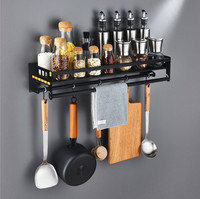 Home Kitchen Cooking Utensils Tool Storage Organizer Shelf Holder Pot Spice Rack Accessories with Removable Hooks Black