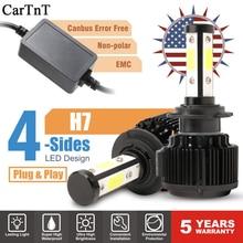 CarTnT Auto Lampadine Del Faro H7 LED H1 H4 HB3 5202 9005 HB4 9006 H13 H11 H8 9004 9007 HA CONDOTTO LA Lampadina canbus 100W 16000LM 6000K 12V 24v