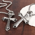 Wholesale New Fashion Punk Jewelry Mens Stainless Steel Link Chain Cross Pendant Necklace vintage accessories Man Gifts LGX976