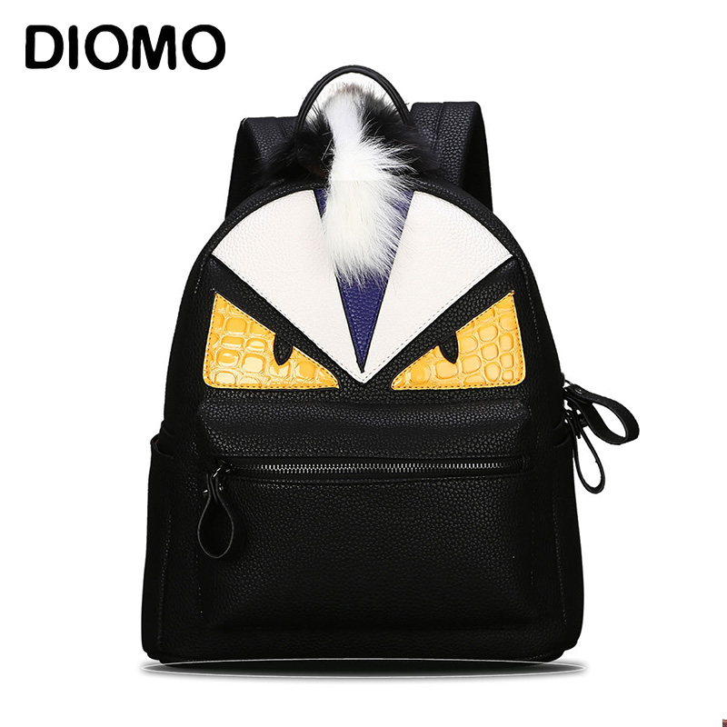 DIOMO Women Backpack Designer Black Cartoon Eyes Monster Backpacks With Fur Travel Bag Cute Backpacks For Teenage Girls zooler women s backpack eyes sequined designer black cartoon eyes backpacks travel bag cute shell backpacks for teenager girls