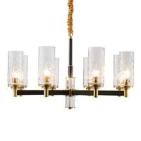 Brushed Brass chandelier Modern black gold Chandelier lamp hanging Light Fixture Nordic European style Hanging Lamp E14 led lamp