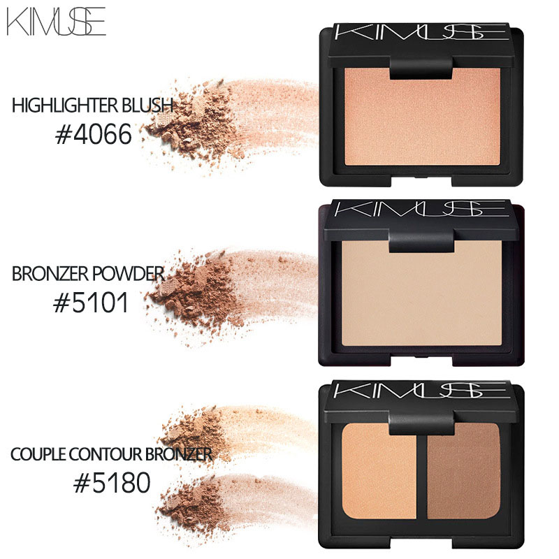 KIMUSE Foundation Exquisite Baked Makeup Blush Palette Cream Blush Blusher With Mirror Glow Kit Natural Bare Make Up Primer Set in Blush from Beauty Health