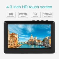 Cewaal 8 GB 4.3 Inches HD Touch Lcd-scherm MP3 MP4 MP5 Media Video Muziekspeler FM Radio Ondersteuning Tf-kaart Gift