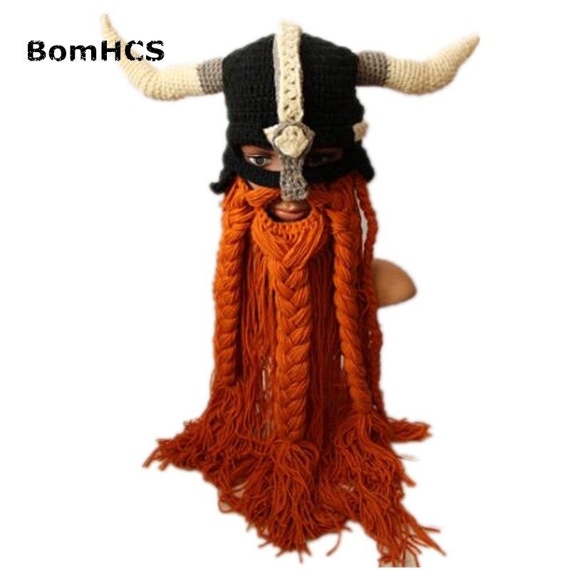 BomHCS Novetly Cool Super Big Beard Horns Beanie Vikings Helmet Armor Mask Hat 100% Handmade Knitted Halloween Gift Funny Party