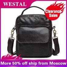 WESTAL Messenger Bag Men Shoulder bag Genuine Leath