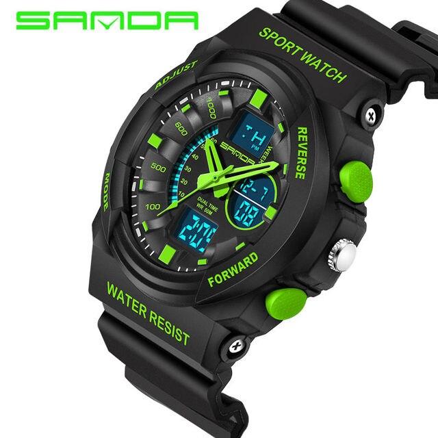 Sanda Sports Watches Men LED Analog Digital Watch Black PU Watchband Waterproof Shock Fashion Quartz Wristwatch Japan Movmt 241G