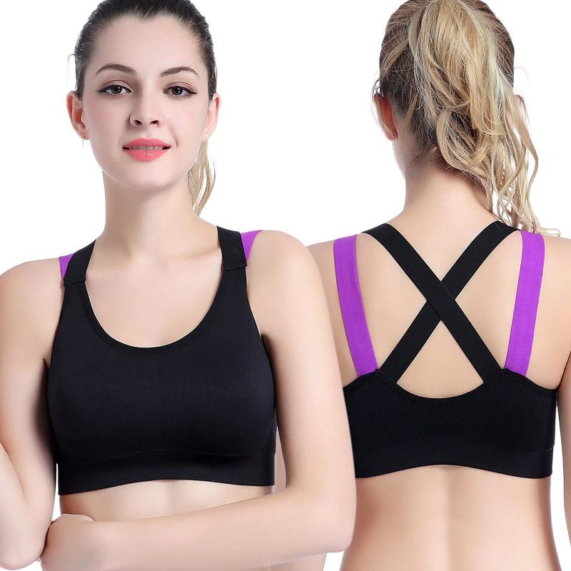 20f955381cb18 Sports Bra High Intensity Back Cross Seamless Top Speed Dry Vest No Rims  Yoga Underwear Running Shockproof Fitness Women 5616-in Sports Bras from  Sports ...