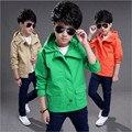 Продвижение Новая Мода Мальчики Куртки Твердые Капюшоном Дети Верхняя Одежда и Пальто одежда