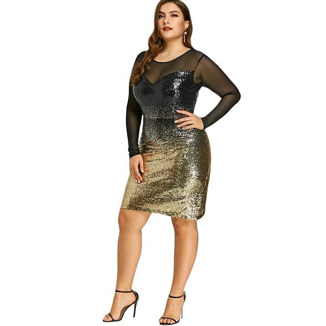 Gamiss Women Formal Evening Wear Bodycon Dress Plus Size 5xl Mesh