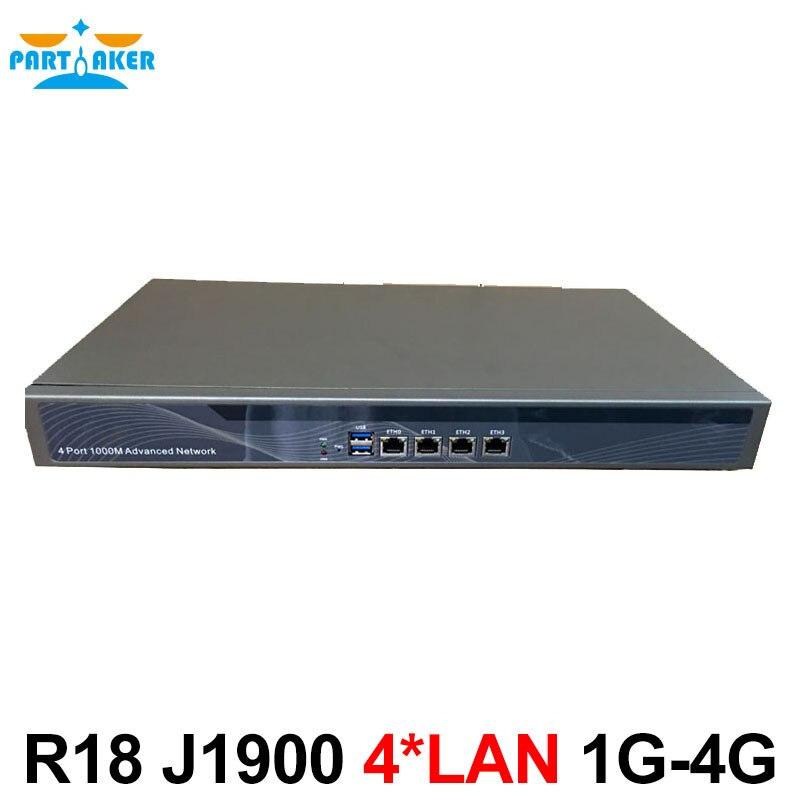 In Stock Network Security Hardware Firewall Appliance Partaker R18 Celeron J1900 with 4 Lan