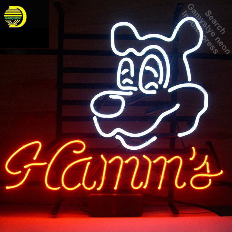 Neon Sign for Hamms Restaurant neon bulb Sign neon lights Sign LOGO glass Tube Handcraft Iconic Sign Display illuminated
