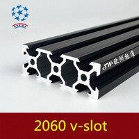 2060 perfil de alumínio da extrusão padrão europeu 2060 v-slot preto comprimento 500mm perfil de alumínio bancada 1 pces