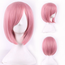 Short pink bobo Heat resistant synthetic wig