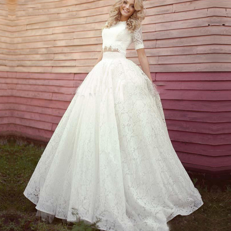 2017 Vintage Lace Two Pieces Wedding Dresses High Neck Short Sleeve ...