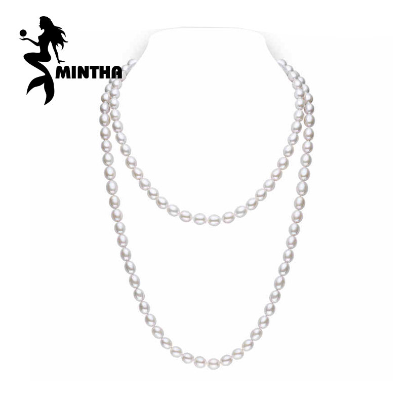 MINTHA Pearl Jewelry,natural pearl necklace 7-8mm,oval pearl necklace for women Multiple layers Necklace trendy long necklace