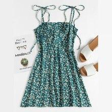 Floral Dress Summer Spaghetti Strap A-Line Wrap Mini Sundress Green Kawaii Vestidos Yellow XL Red