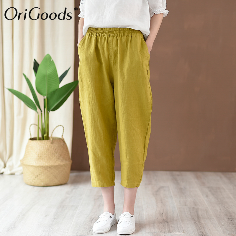 OriGoods Linen Summer   Pants   Women Calf length   Pants     Capris   Elastic waist Loose Casual Cute Linen Trousers 2019 Summer   Pants   C214