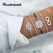 5PCS/SET Vintage Bohemia Silver Color Hollow Out Palm Charm Bracelet Sets For Women Rope Chain Bracelets Beads Jewelry Gifts недорго, оригинальная цена